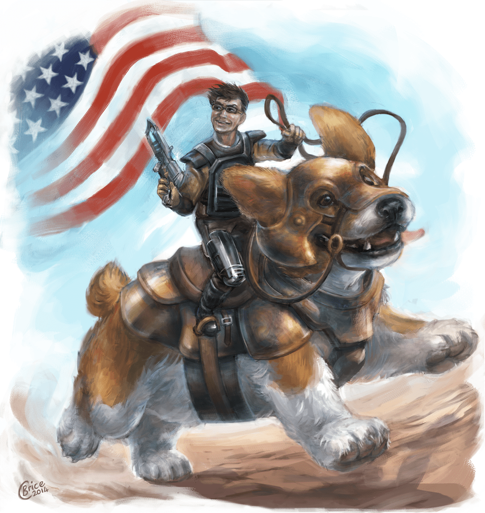 Portrait of Romain Riding a Corgi into Battle by Feralkith via ArtCorgi