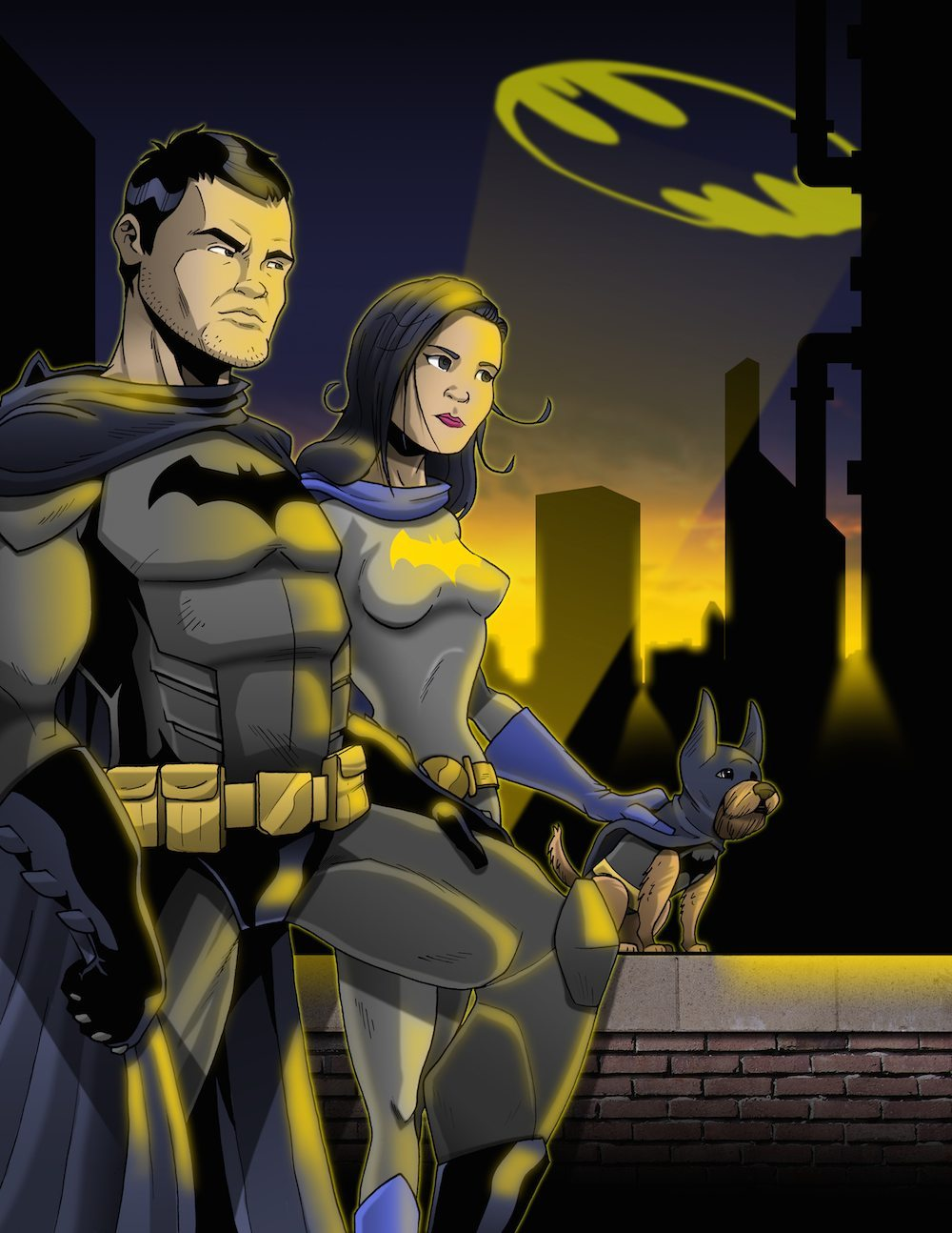 Portrait of a BatCouple and their BatDog by Clay Graham via ArtCorgi