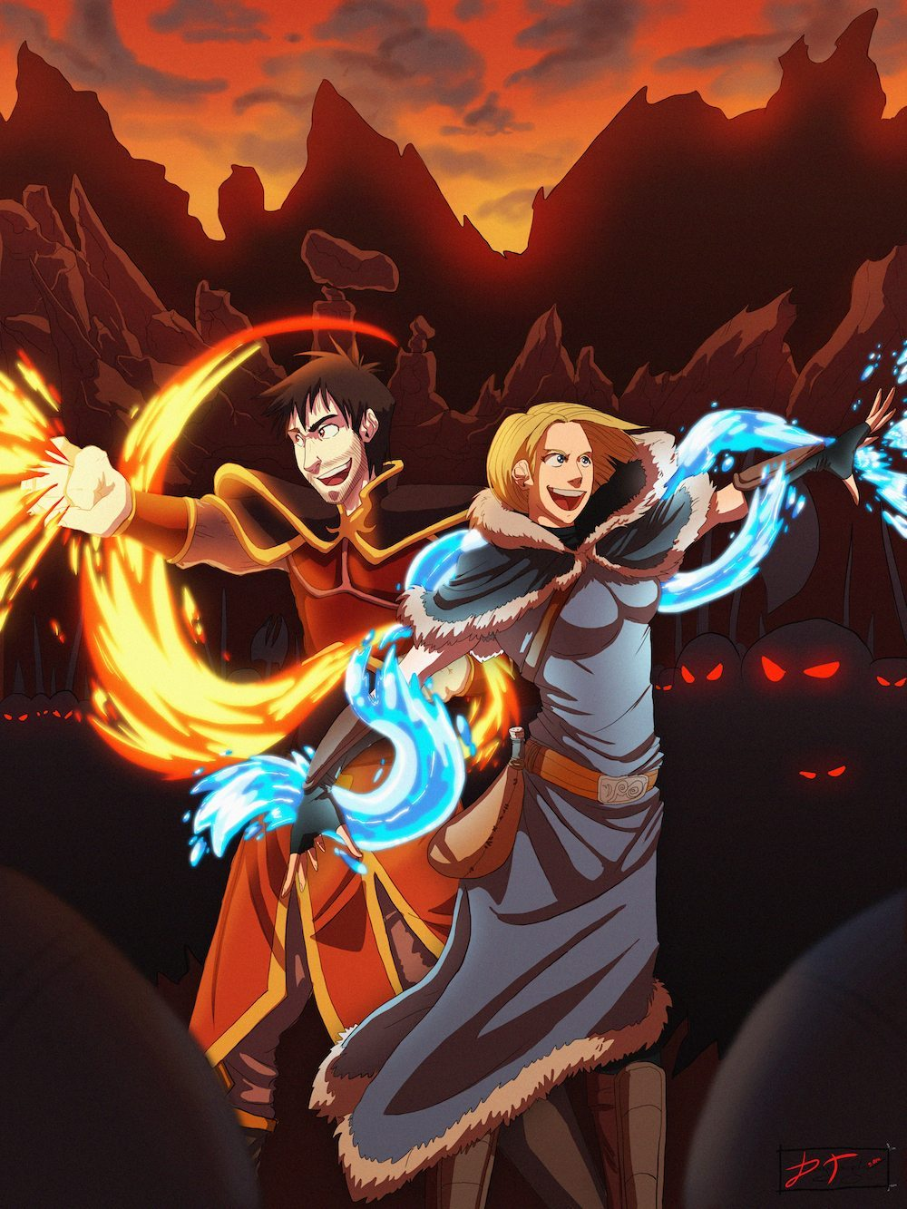 Portrait of a Fire and Water Bending Couple by Denitsa Trandeva via ArtCorgi