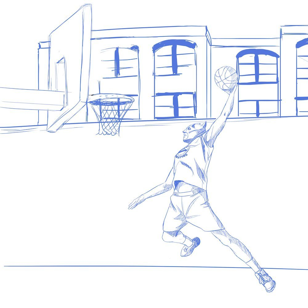 Sketch of Batman Attempting a Dunk by Blacksmiley