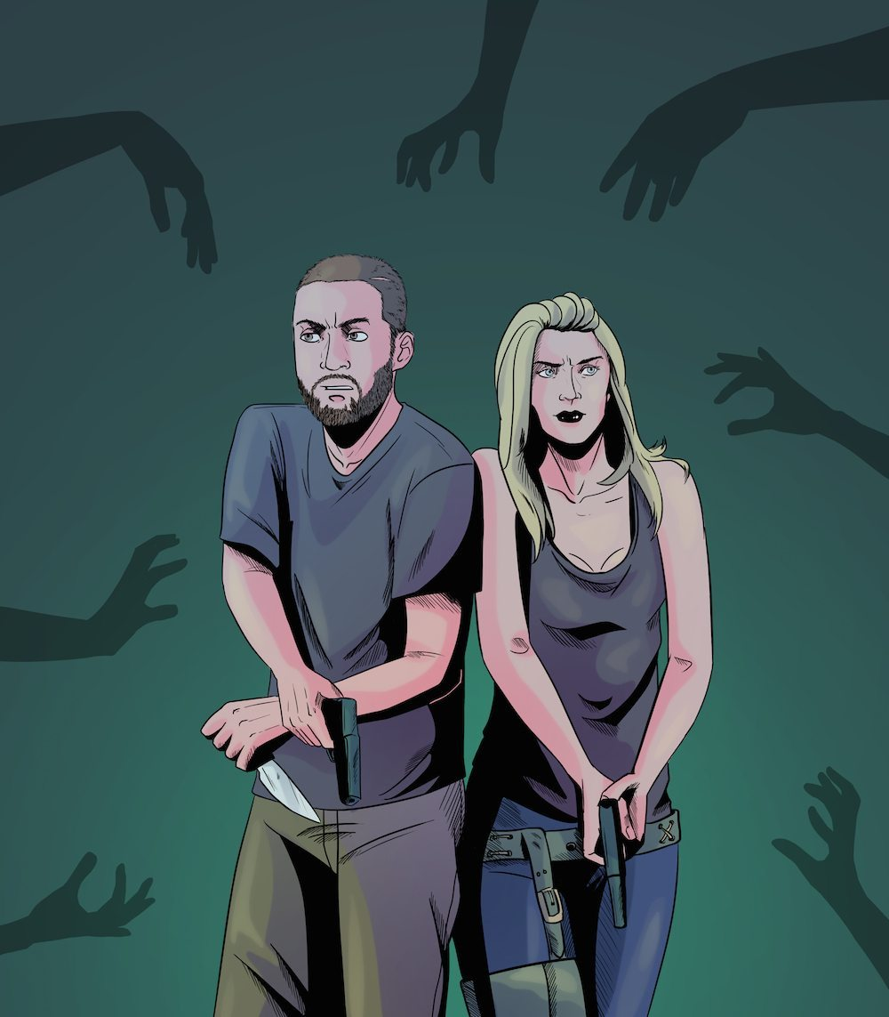 Zombie Themed Couple Portrait by Blacksmiley via ArtCorgi