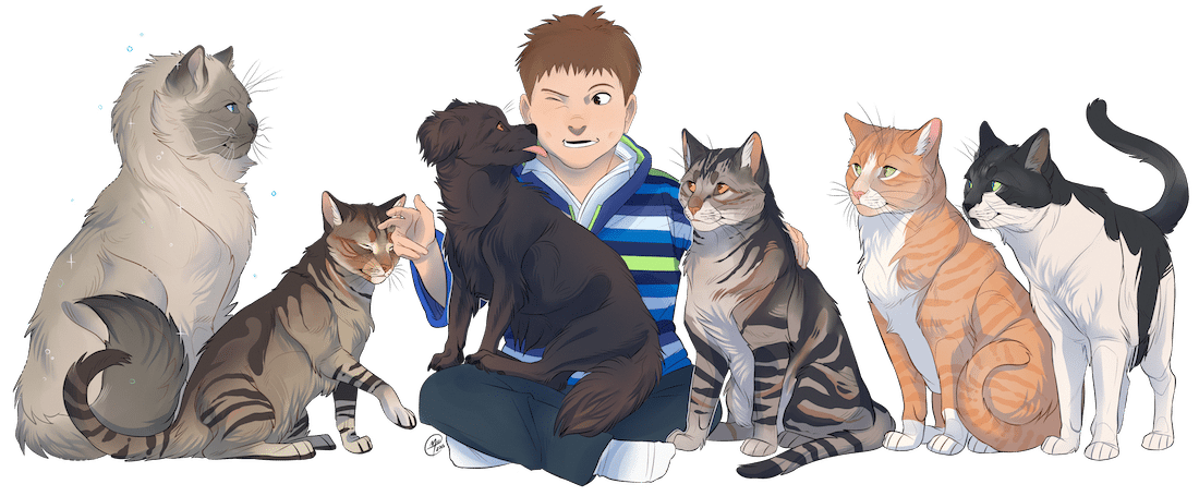 A Boy and Dog with Cats by El Gato Iberico via ArtCorgi