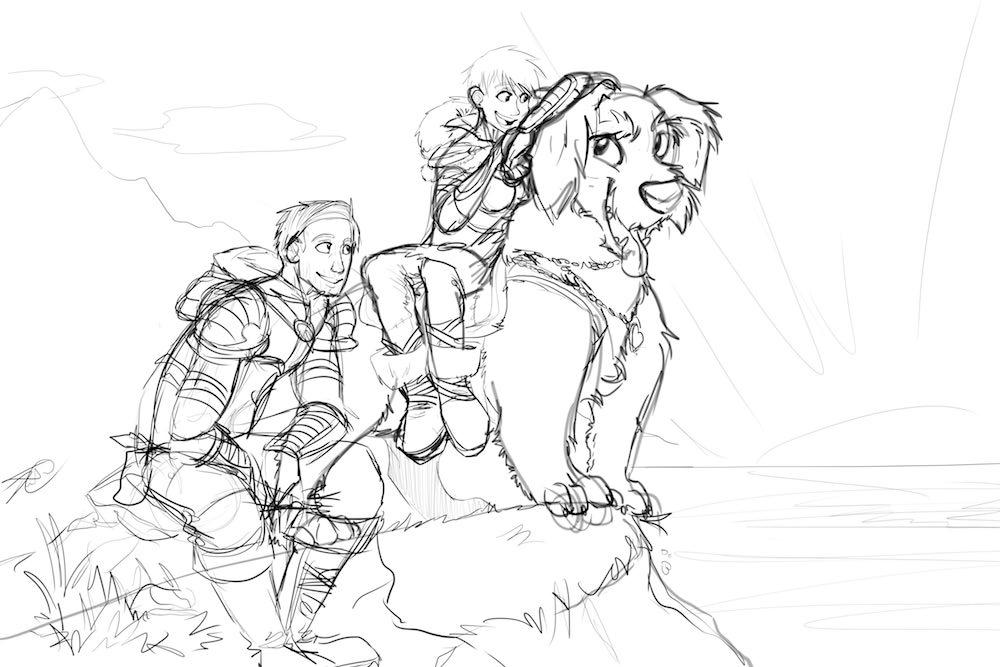 Draft Illustration of Nick, Julie, and Gypsy by Denitsa Trandeva