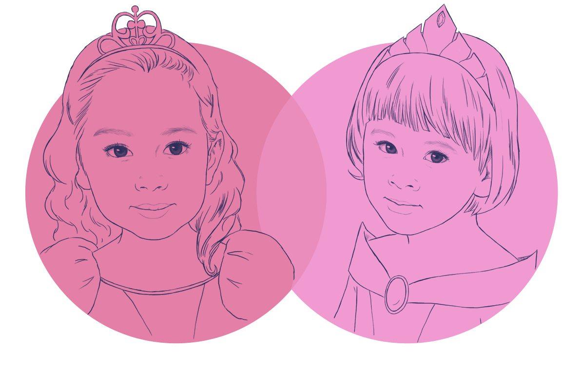 Draft Portrait of Princess Sisters by Crespella via ArtCorgi