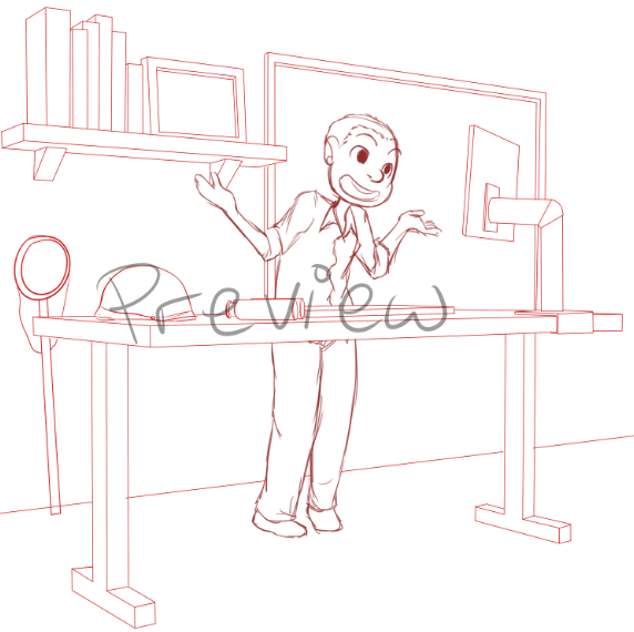 Draft of Steve at his Standing Desk by Zanny