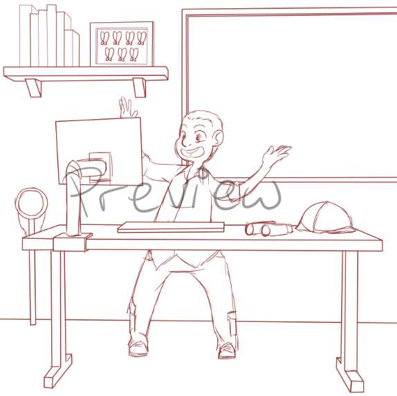 Draft of Steven at his Standing Desk by Zanny via ArtCorgi