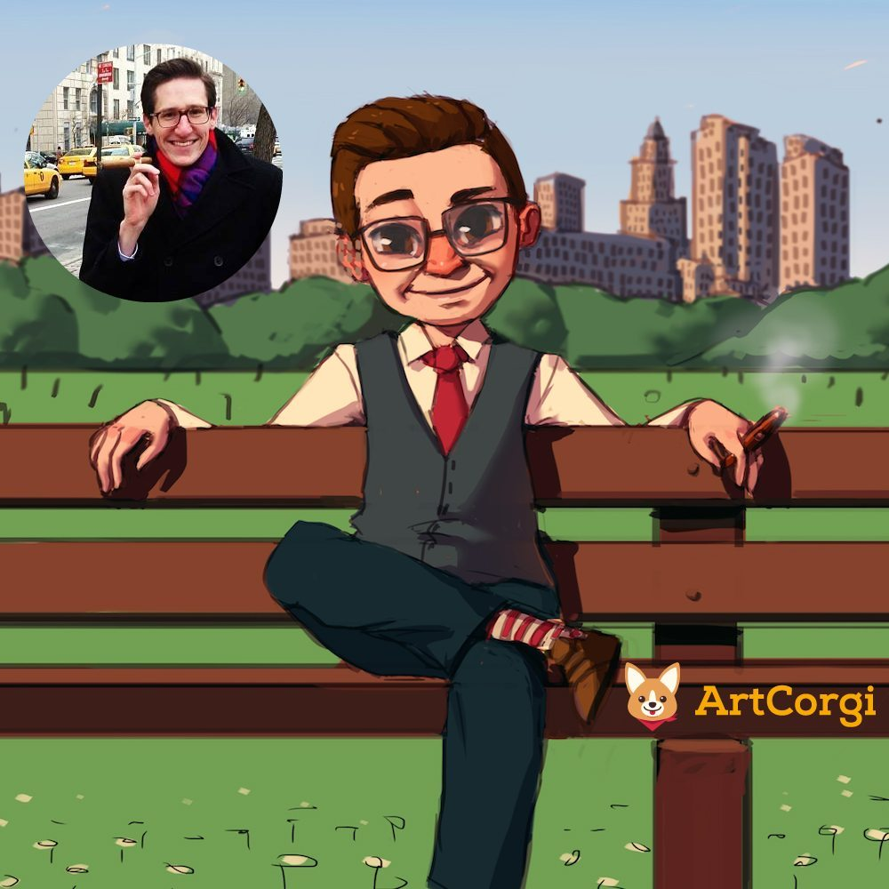Marcel in Central Park by Mourphine before and after via ArtCorgi