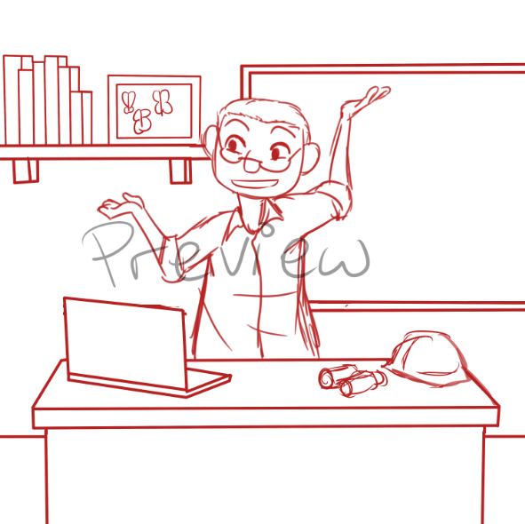 WIP Draft of Steven in his Office by Zanny