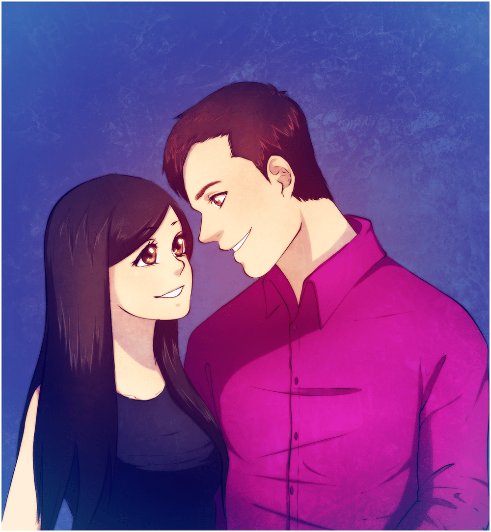Anime Portrait of a Lovely Couple by Lucia Garcia via ArtCorgi