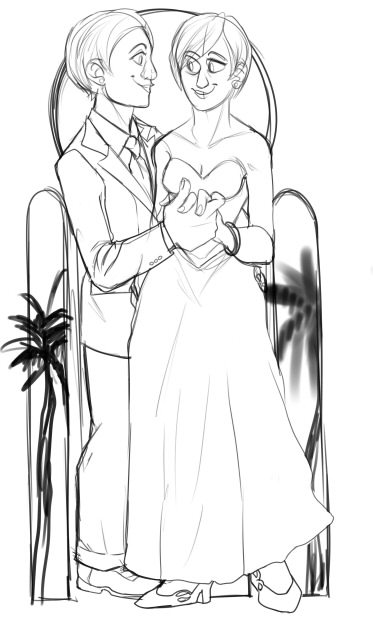 Bride and Groom Sketch by Melanie Duquesne
