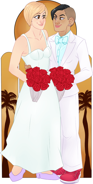 Kristen and Abi Married in Hawaii by Melanie Duquesne via ArtCorgi