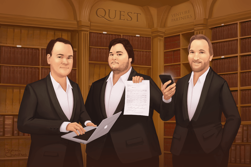 Portrait of the Quest VP Team by Stephanie Campbell via ArtCorgi
