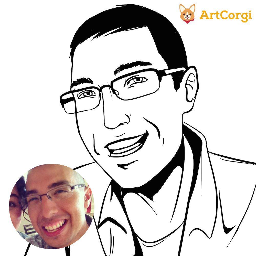 Comic Portrait of Tim Before and After by Blacksmiley via ArtCorgi