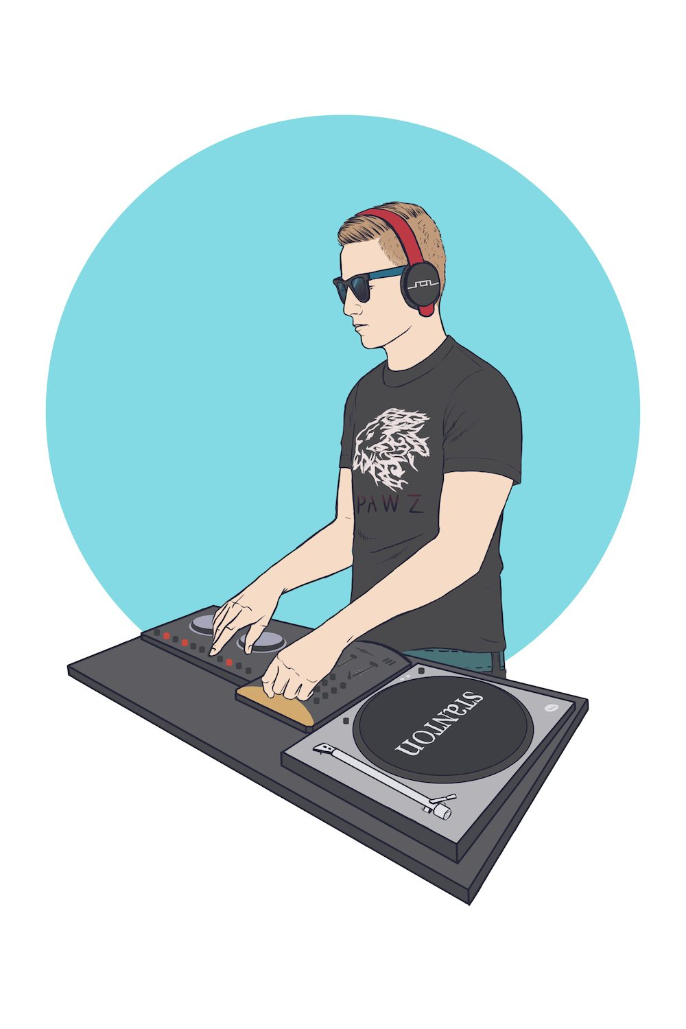 Portrait of Jeff DJing by Crespella via ArtCorgi