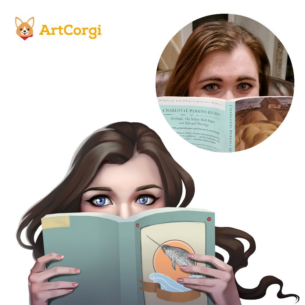 Portrait of a Romance Author Before and After by Angeline Roussel via ArtCorgi