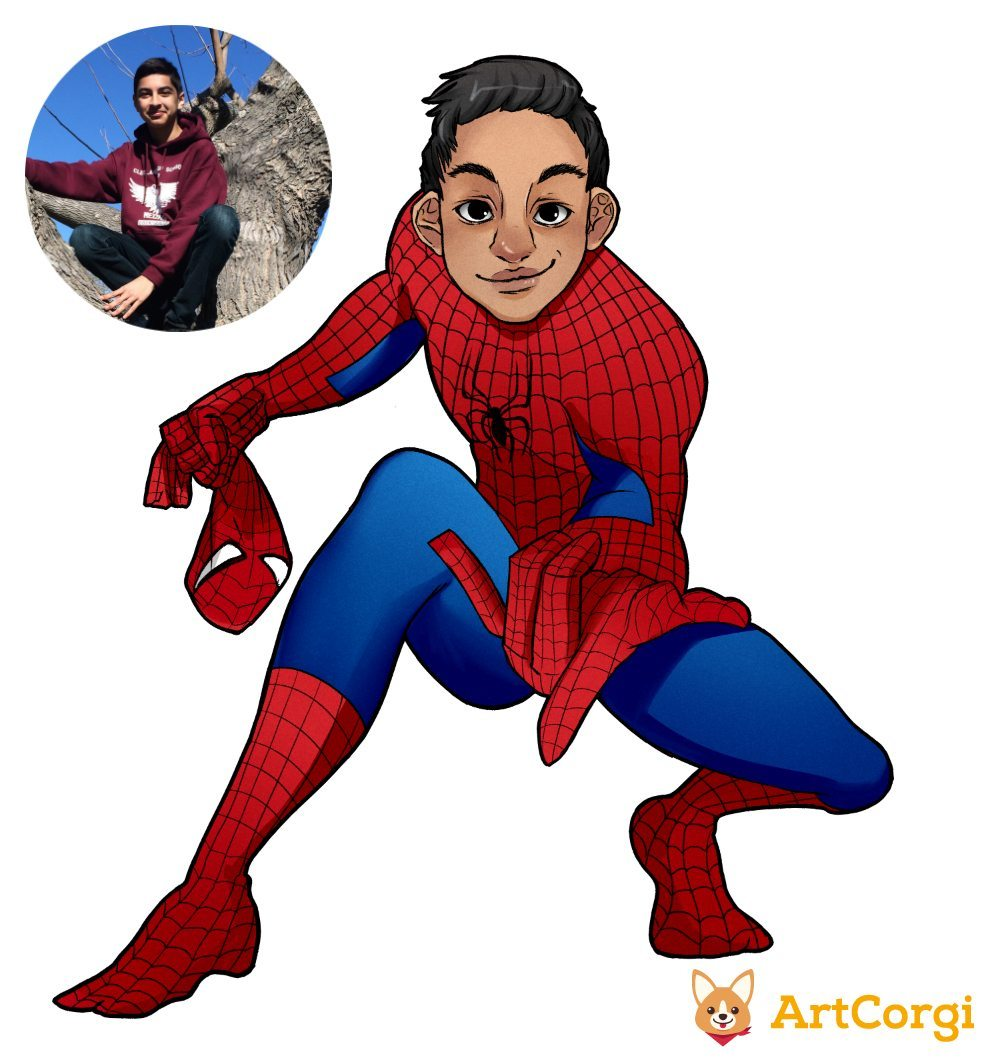 Julian as Spiderman Before and After by AruRmz via ArtCorgi