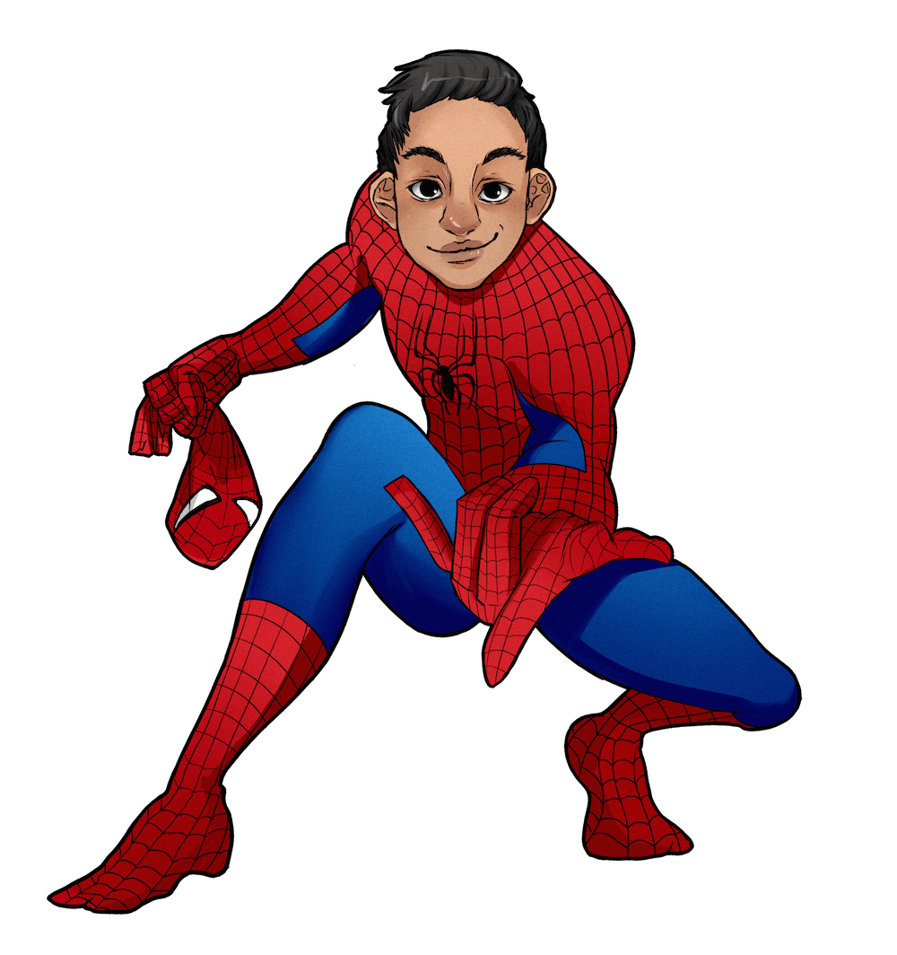 Julian as Spiderman by AruRmz via ArtCorgi