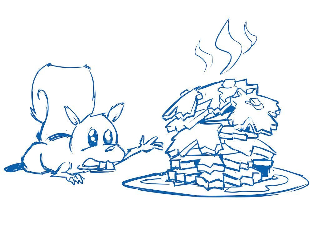 Squirrel and Pancakes Draft by Silvadoray