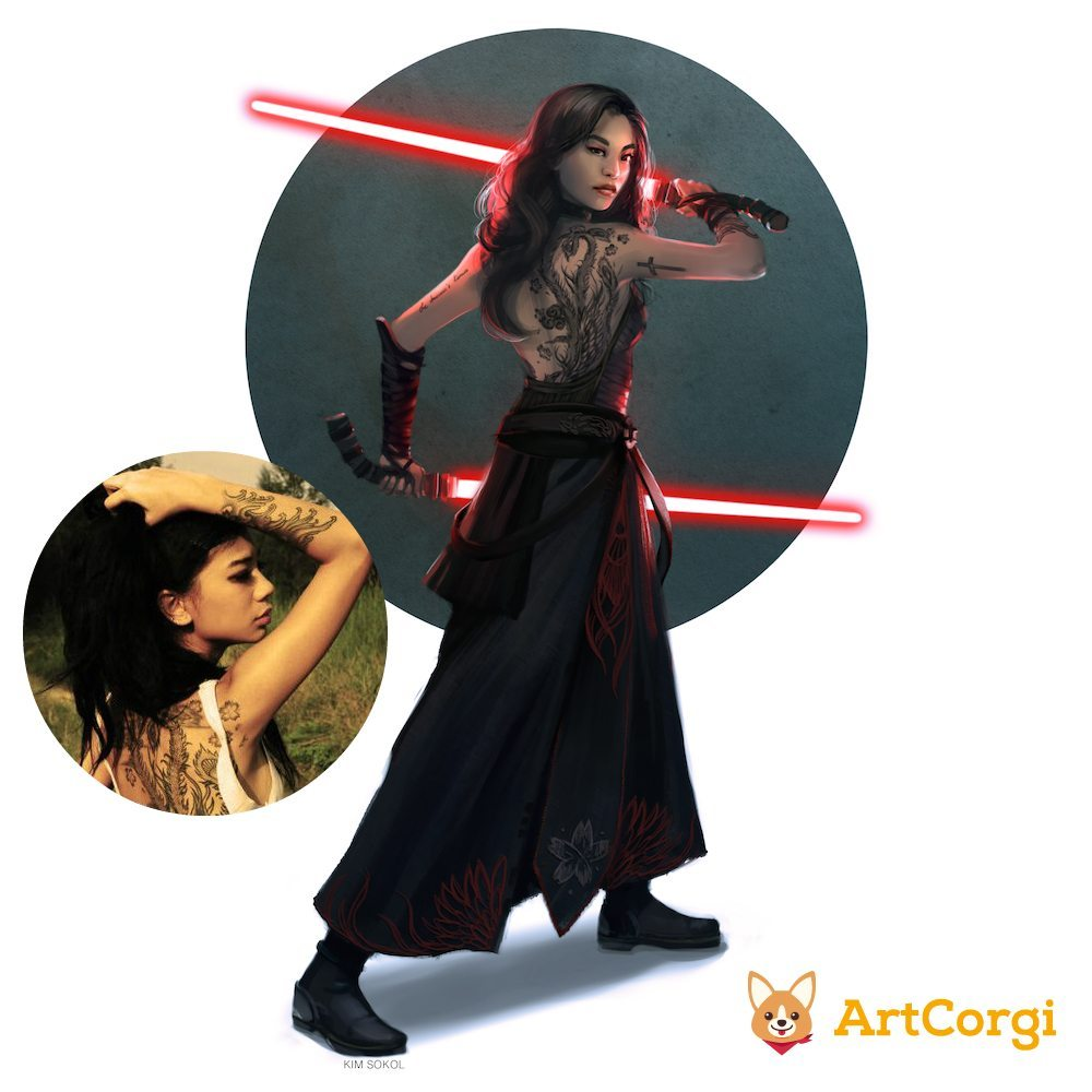 Star Wars Inspired Portrait of a Sith Woman by Kim Sokol via ArtCorgi