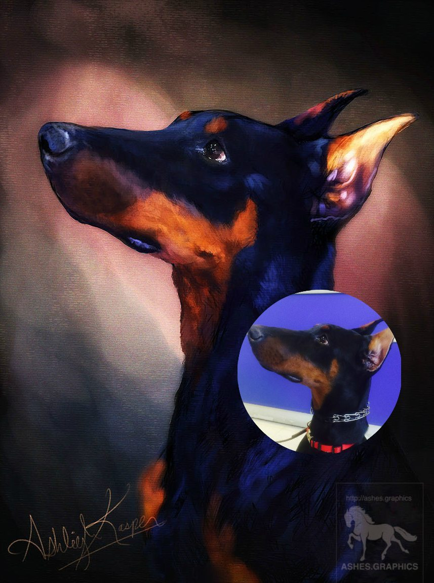 Rough Doberman Painting by Ashes Graphics