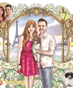 ArtCorgi Commission anniverssary gift of a couple by the Eiffel Tower by Shintayu