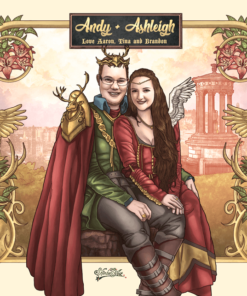 ArtCorgi -- Modern Art Nouveau Style Portraits sample - Medieval portrait of a couple