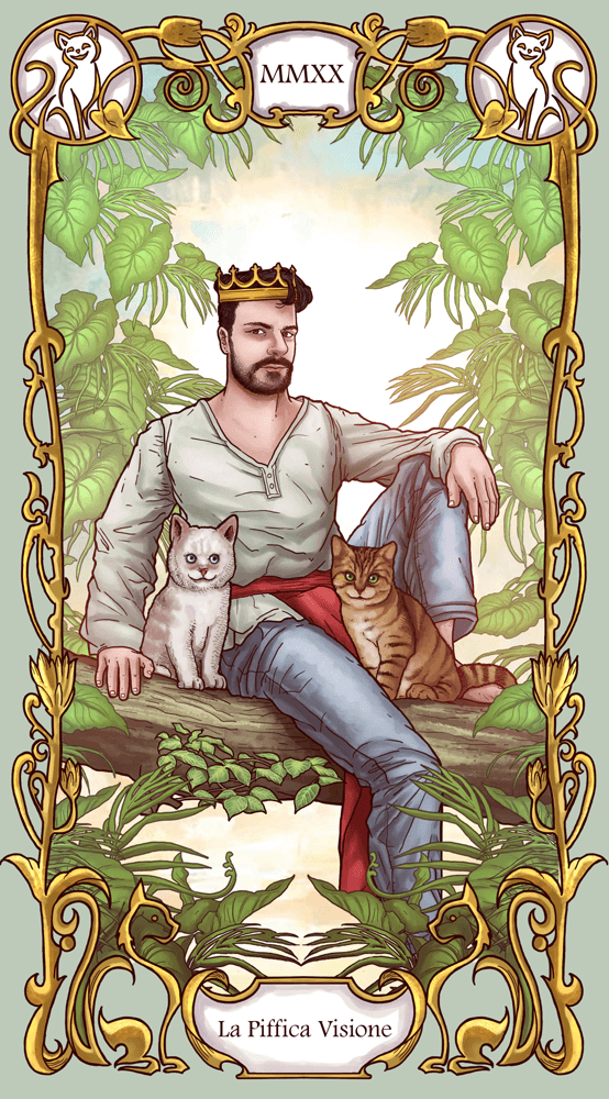 ArtCorgi -- Modern Art Nouveau Style Portraits sample - Tarot card style portrait of a man with two cats