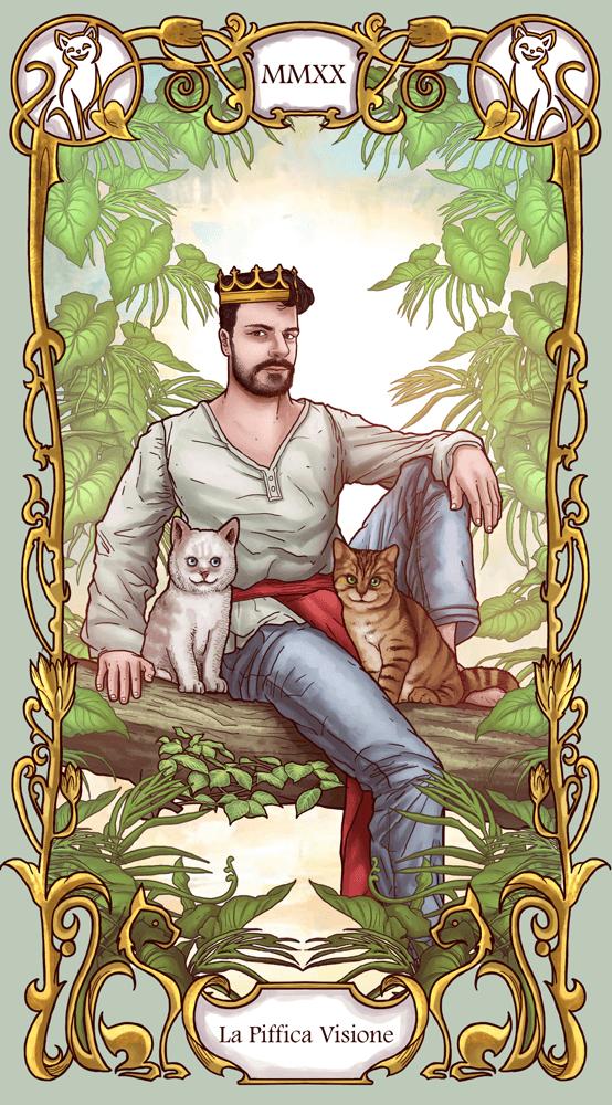 ArtCorgi -- Modern Art Nouveau Style Portraits sample - Tarot card style portrait of a man with two cats