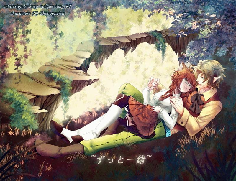 Anime-Style Couple Illustration by Kura-Ou