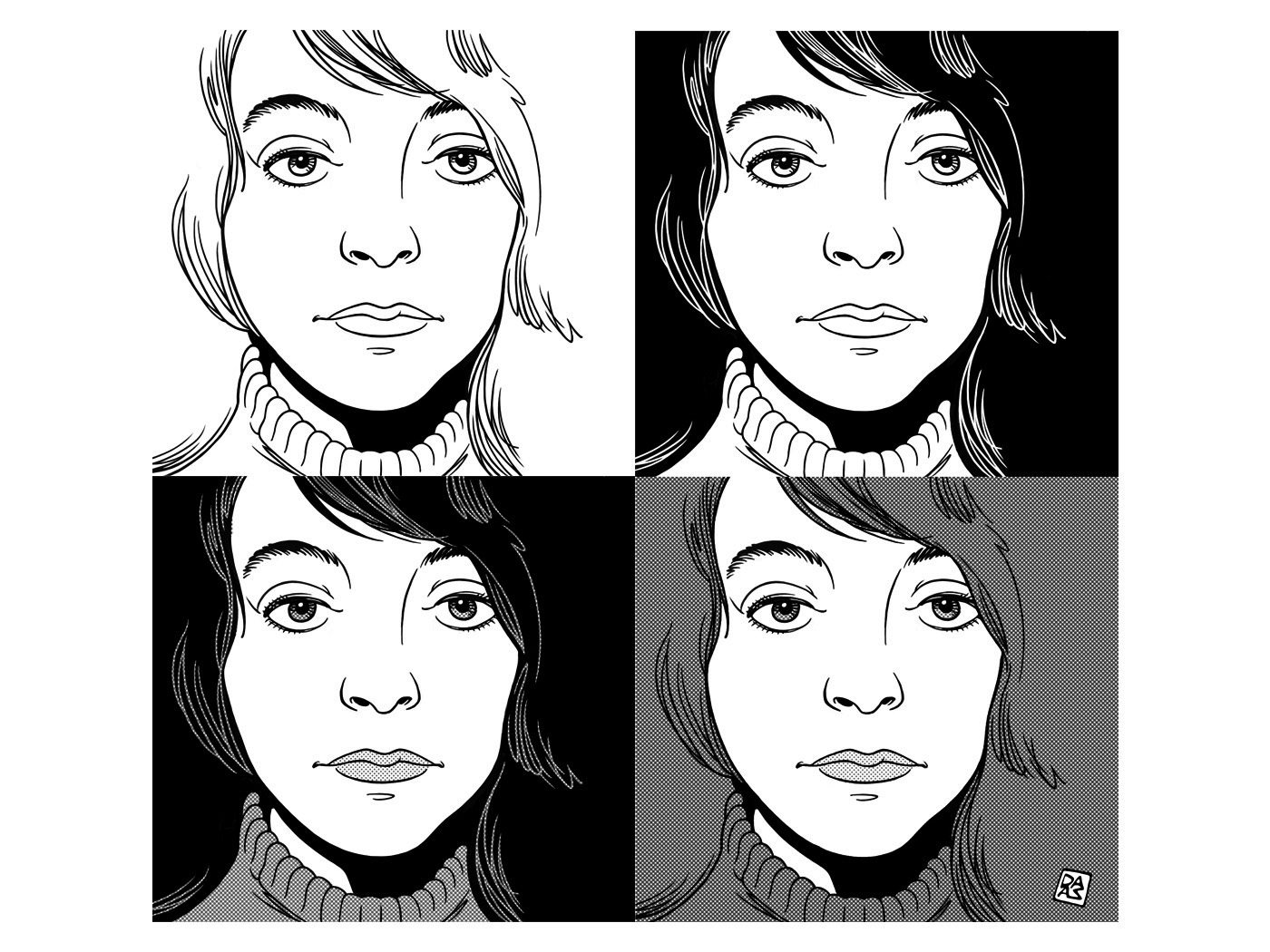 four-square-portrait-of-a-woman-by-daza