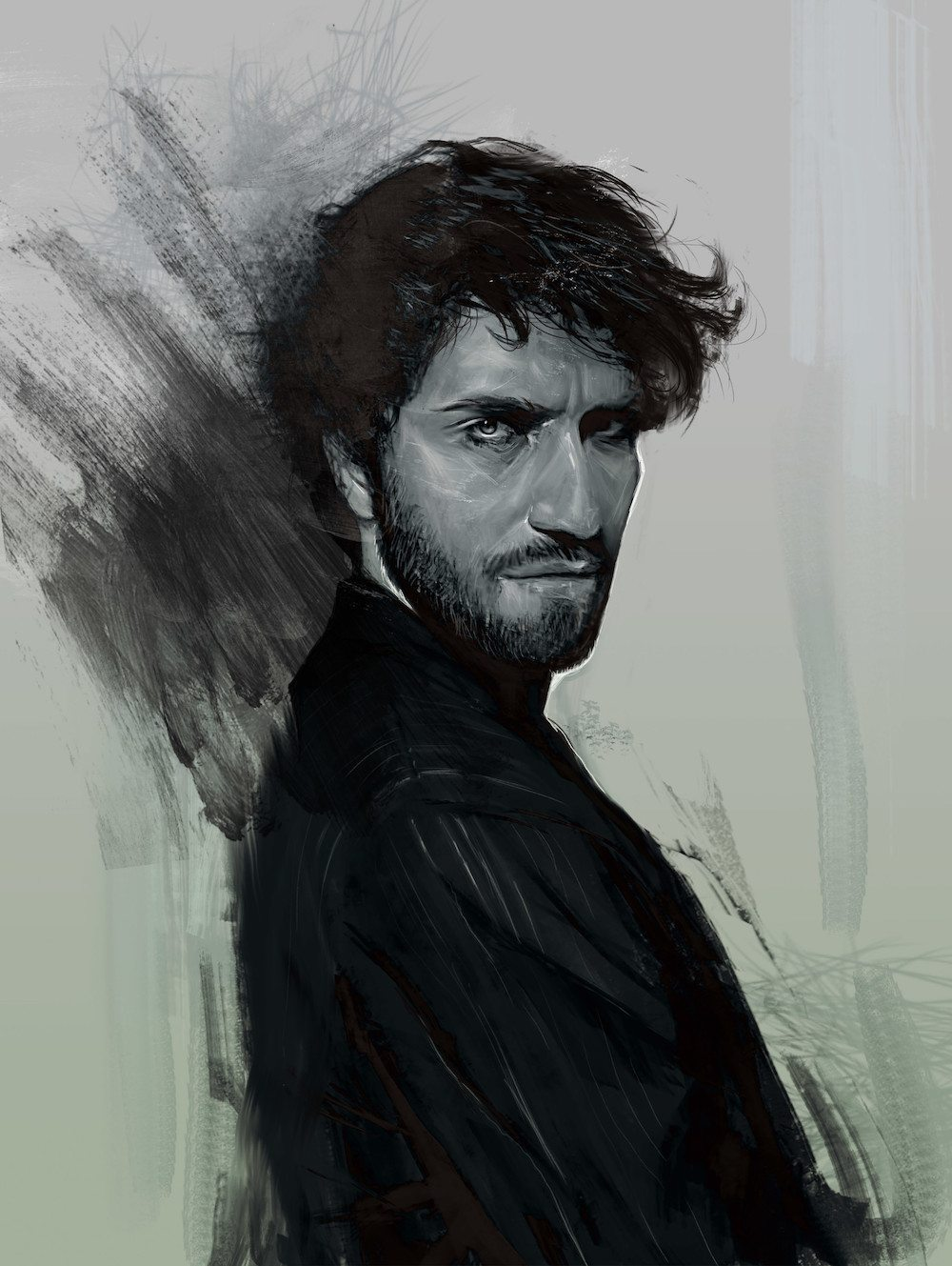 Black and White Portrait of a Man by Bella Bergolts