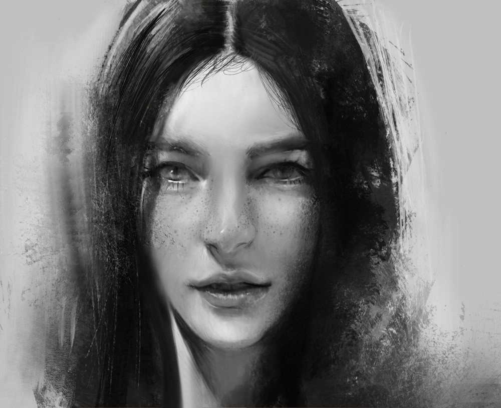 Black and White Portrait of a Young Woman by Bella Bergolts