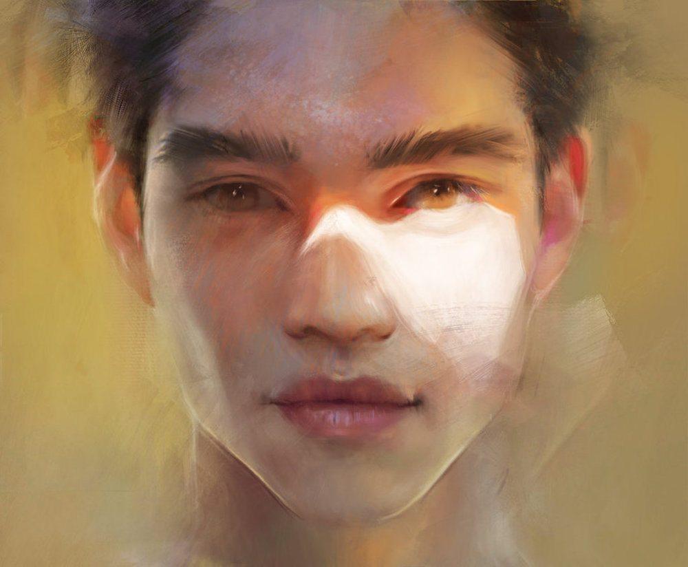 Color Portrait of a Mans Face by Bella Bergolts