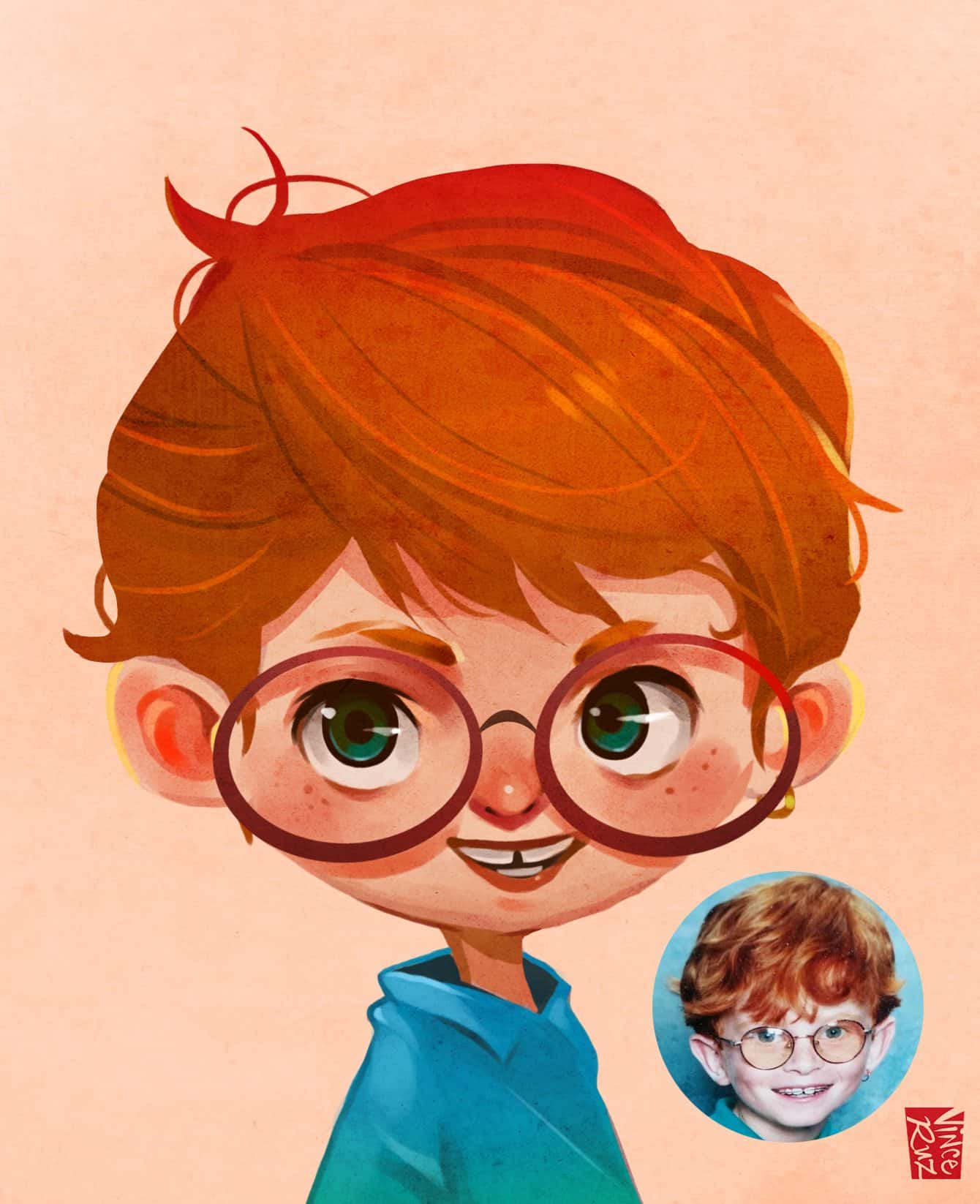 Commission Sample by Vince Ruz Portrait of a Boy with Glasses