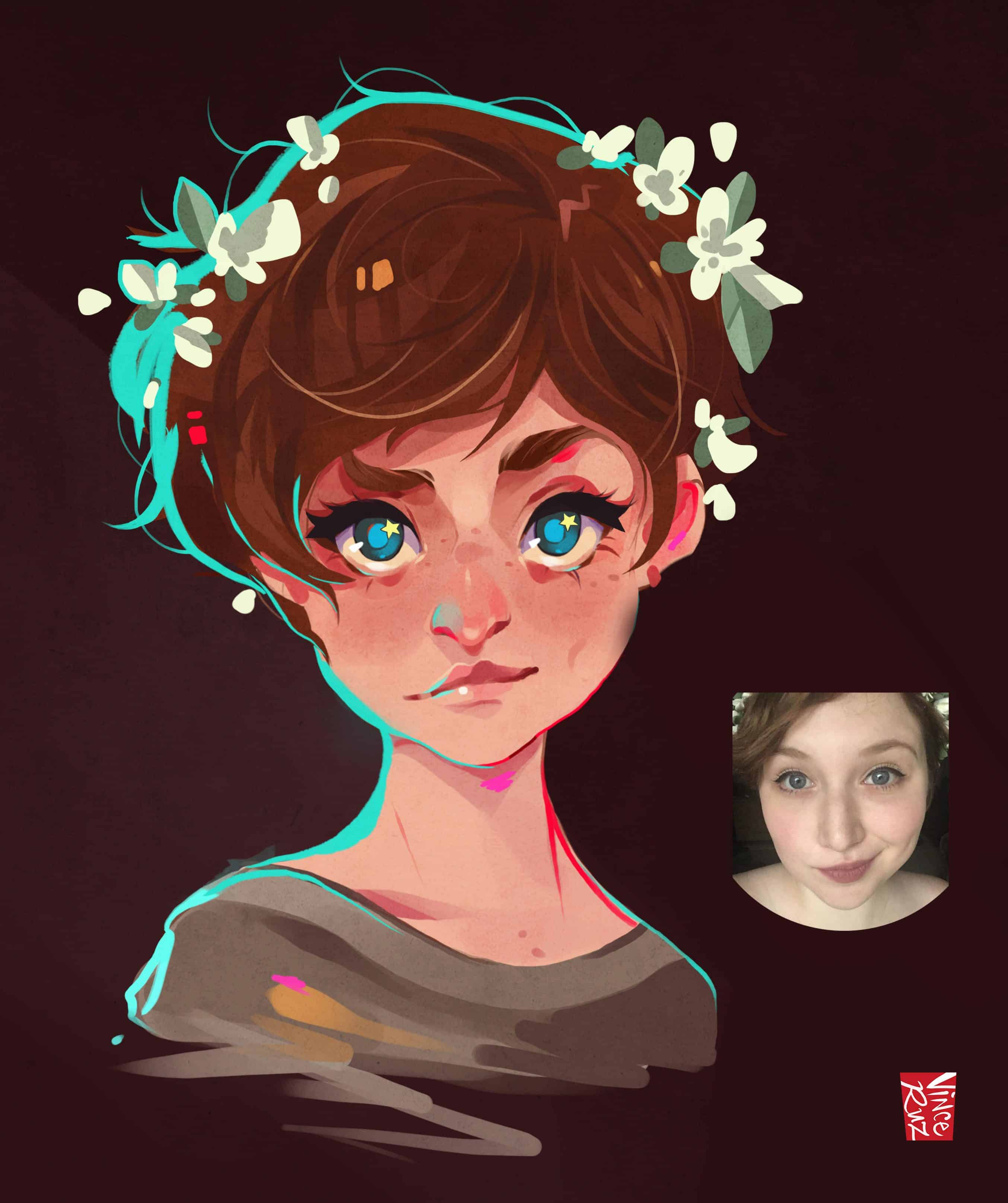 Commission Sample by Vince Ruz Portrait of a Girl with Flowers in Her Hair