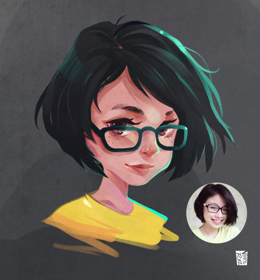 Commission Sample by Vince Ruz Portrait of a Girl with Glasses