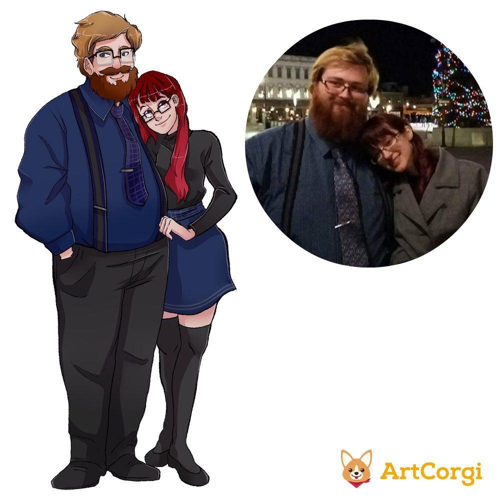 ArtCorgi Commission Sample Couple Portrait by AruRmz