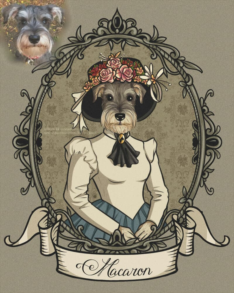 ArtCorgi - KucingKecil Vintage Pet portrait commissions sample