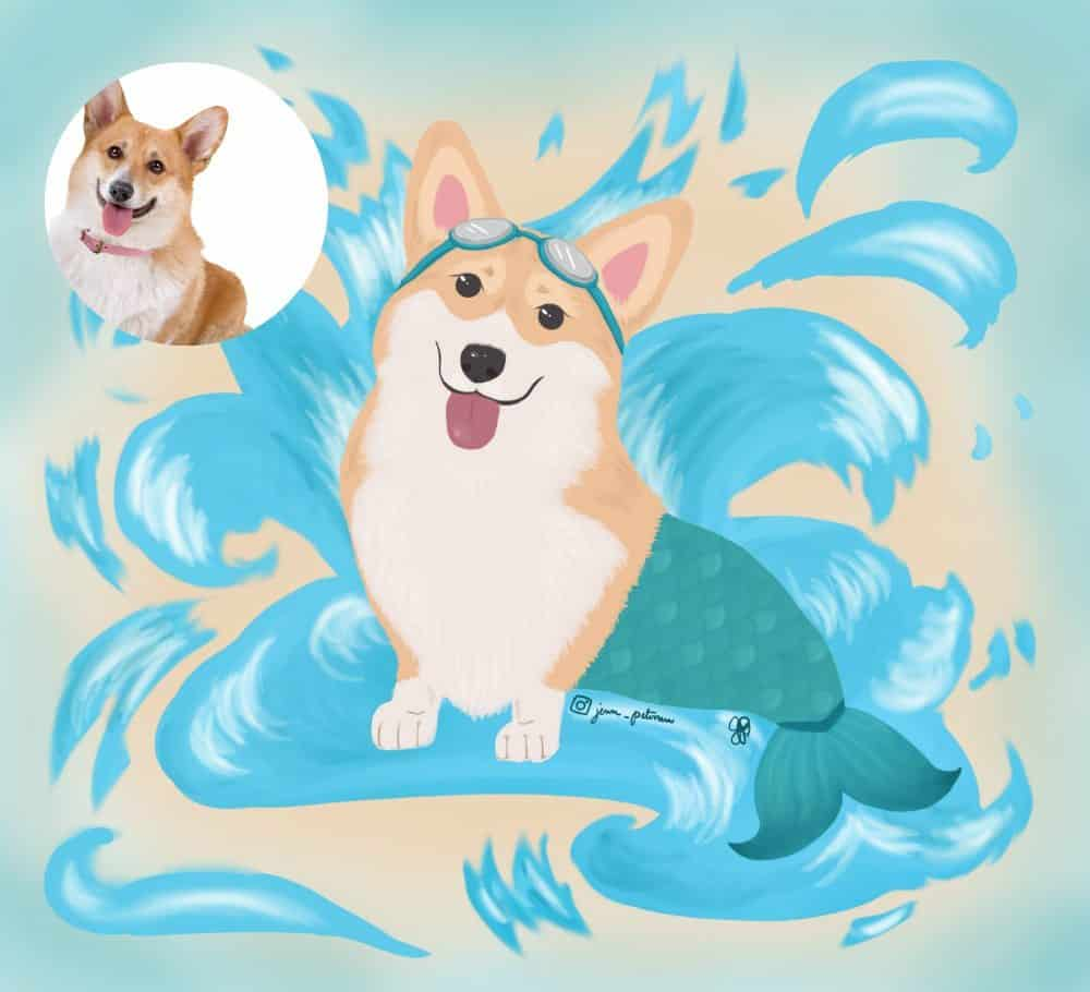 Corgi Pet Mermaid Portrait by Jenn Petersen