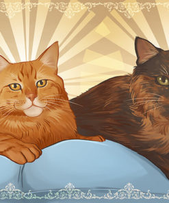Cute Cats sitting on pillows - Digitally Painted Pet Portraits by Zee Coshow on ArtCorgi