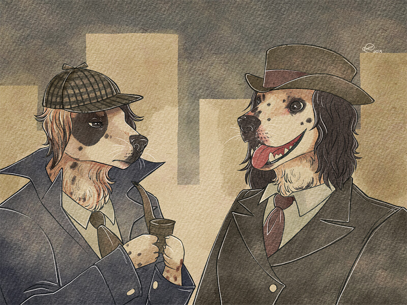 Sherlock inspired dogs wearing suits and hats - Digitally Painted Pet Portraits by Zee Coshow on ArtCorgi