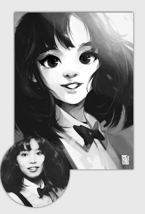 ArtCorgi - Vince Ruz - stylized black and white portrait