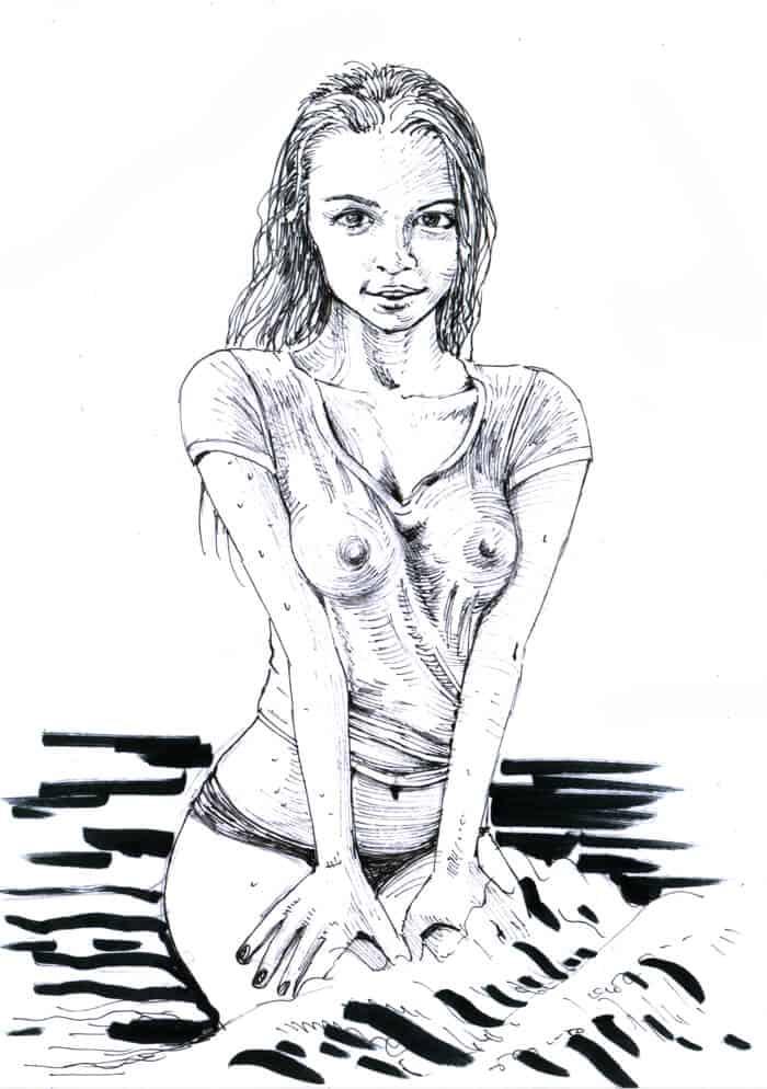 BenDX black and white ink scenes commission sample simple background- ArtCorgi