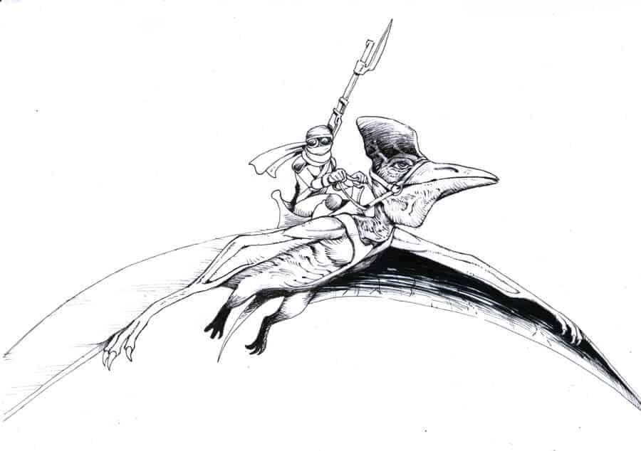 BenDX black and white ink scenes commission sample simple shading- ArtCorgi