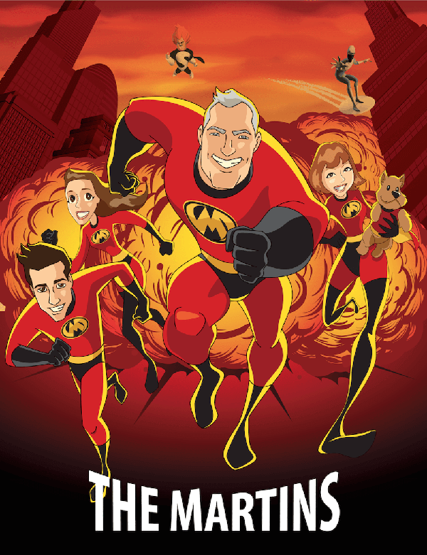 Movie Poster portrait of The Martins family in the style of the Incredibles movie