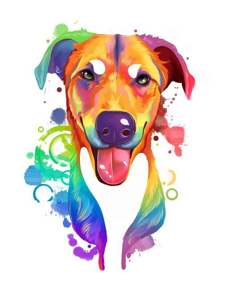 ArtCorgi - Rainbow Pet portrait commissions by Aeryn - Dog portraits
