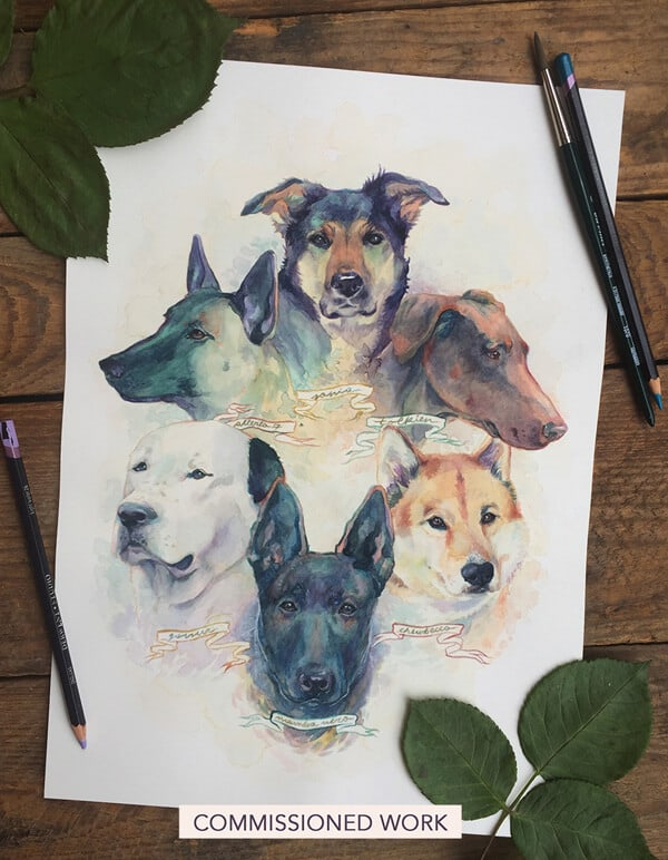Artcorgi - Traditional Pet Portrait commission samples by Thenizu