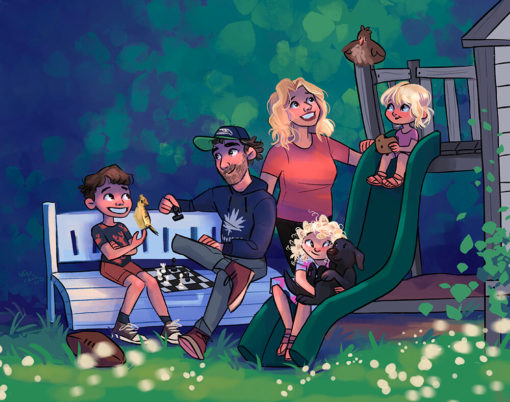 ArtCorgi - Family Portraits by Megan Crow featuring a family at the park