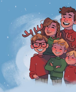 ArtCorgi - Family Portraits by Megan Crow featuring a family dressed for christmas