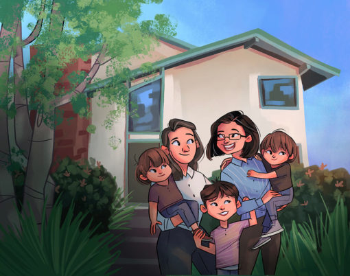 ArtCorgi - Family Portraits by Megan Crow featuring a family in front of a house